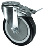 VARLEY V72V075PNJB12 BRAKED SWIVEL CASTOR. SINGLE HOLE FIXING. 75MM NON MARKING POLYURETHANE TYRED WHEEL