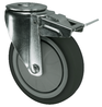 VARLEY V72V100TRJB12 BRAKED SWIVEL CASTOR. SINGLE HOLE FIXING. 100MM GREY RUBBER TYRED WHEEL